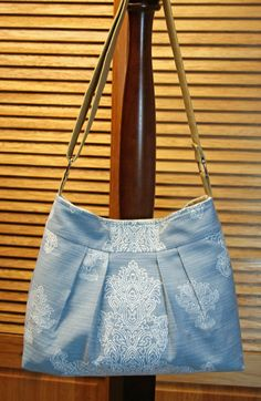 Henna Sky -- Cotton/Linen Pleated Purse / Bag - Adjustable Shoulder or Cross Body - Blue gray - Earthy Natural ... by Sew Much Cuteness