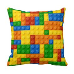 Kids Building Blocks Pillow-- not necessarily this pattern- it's a bit loud- but can probably find Lego pattern fabric and make own to go with room decor