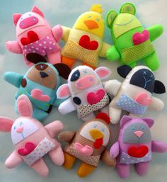 EasterNine Felt Animal Softies Sewing Pattern - Spring Animals - PDF ePATTERN for Pig, Cow, Chicken, Sheep, Dog, Cat, Frog, Bunny & Chick. $5.49, via Etsy.