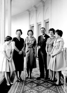 Royal Sisters... Queen Juliana and Prince Bernhard of the Netherlands and their four daughters, Princess Beatrix, Princess Irene, Princess Margriet and Princess Christina in 1958.