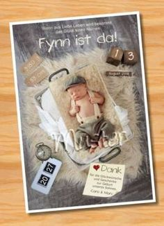 Danksagungskarten Geburt Geburtskarte MUSTER 136 - Bild vergrößern