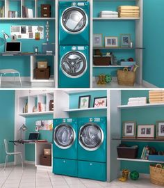 Laundry room pulls double duty as home office.
