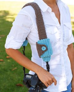 Camera Strap Cover And Lens Cap Pouch (Crochet)