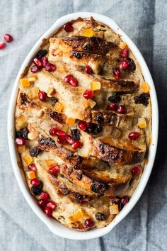 vegan bread butter pudding top down