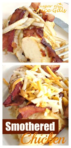 Smothered Chicken ~ bacon, camelized onions and cheese .....this recipe plus a crusty tool.....yum game day delectable!......