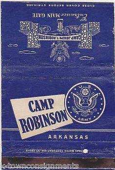 CAMP ATTERBURY, IN & CAMP ROBINSON, AK WWII PROPAGANDA ART MATCHBOOK COVERS