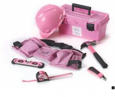 Landmark presents 'The Power of Pink' hardware accessories. A portion of the sales from Landmark's 'The Power of Pink' hardware accessories will be donated to the Canadian Breast Cancer Foundation. 'The Power of Pink' tool belt, hard hat, tool box and Pink Tool Box, Tools For Women, Camping Tools, Home Tools, Tool Belt, Everything Pink, Home Improvement Projects, Breast Cancer Awareness, My Favorite Color