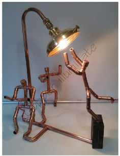 "CopperMan ""How many??"" Made from Copper pipe and fittings, Brass and Oak."