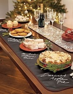 An easy way to serve your guests during a dinner party is with a buffet. Check out these fun tips and ideas for creating a beautiful Christmas buffet table. Chalkboard Table, Chalkboard Fabric, Chalkboard Paint, Chalk Paint, Chalkboard Ideas, Chalk Menu, Chalk Ideas, Chalk Wall, Chalkboard Drawings