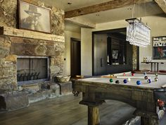 Family Room Stone Fireplace Mantel Design, Pictures, Remodel, Decor and Ideas - page 10 Pool Table Room, Pool Table Lighting, Rustic Fireplaces, Modern Fireplace, Billiard Room, Fireplace Design, Stone Fireplaces, Fireplace Hearth, Rustic Design