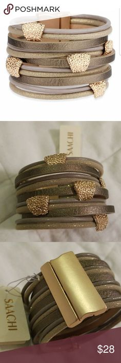 NWT Saachi Leather and gold bracelet NWT Saachi Leather and gold bracelet SAACHI Jewelry Bracelets