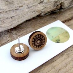 Items similar to Round Bamboo Earrings Bamboo Products, Photo On Wood, Cute Earrings, Wood Print, Laser Cutting, Silver Plate, Dutch, Place Card Holders, Traditional