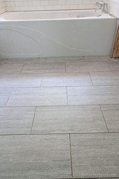 new tile floors from Floor & Decor in the Master Bath of the Flip House | theharperhouse.com