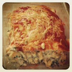 Lasagna de espinaca a los 3 quesos.