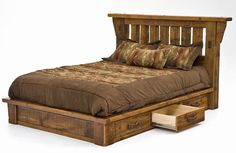 Barnwood Platform Bed with Optional Six Drawers It would be better with a padded headboard