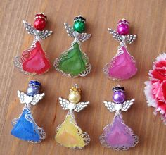 6x Handmade Angel Charms Pendants Frosted Flower Filigree 2 Tones Bright Colours