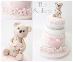 Girls Christening Cake | Three small tiers with Teddy topper… | Flickr