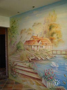 mural Painting Wallpaper, Stencil Painting, Wall Wallpaper, Watercolor Paintings, Plaster Art, Plaster Walls, Wall Murals, Wall Art, Woodland Art