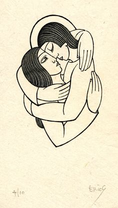The Soul and the Bridegroom  - Vignette of two figures embracing, one with halo(?); woodcut illustration to 'The Song of the Soul' by St. John-of-the-Cross, translated by Rev. John O'Connor and printed by the Chiswick Press, London for Francis Walterson, Capel-y-ffin, Abergavenny, 1927