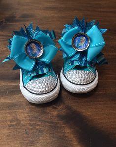 #Elsa #Frozen #Converse #ChuckTaylors #Bling #Rhinestone Blinged-Out Rhinestone Toed Converse Sneakers with Elsa from Frozen