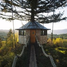 The Cinder Cone Treehouses.A structure of two treehouses, a skating bowl, and a wood-fired soaking tub. The construction took about 12 months in total and costed around $170,000. One treehouse acts as a workshop and the other is for living. There iselectricity and even Wi-Fi! Located in Skamania, Washington.[[MORE]]