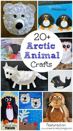 20+ Arctic Animal Crafts for Kids | Polar Bears, Penguins, Walrus, Arctic Fox, Whales, Puffins and Reindeer. On iheartcraftythings.com
