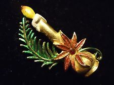 Vintage Enamel & Rhinestone Christmas Candle Poinsettia Pine Holiday Brooch Pin
