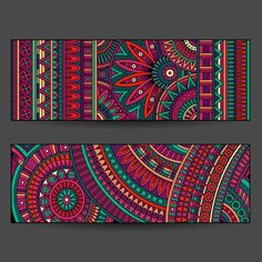 Illustration of ethnic pattern cards set vector art, clipart and stock vectors. Image 33318083.