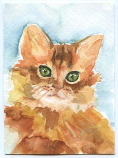Cat Watercolor Painting ACEO Giclee Print by SusanWindsor on Etsy