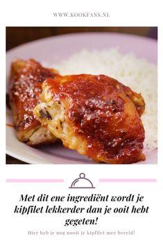 Het geheime ingrediënt voor lekkere, zoete en zachte kip is... Fish And Meat, Oven Dishes, Rabbit Food, Lasagna, Crockpot, Chicken Recipes, Food And Drink, Veggies, Favorite Recipes