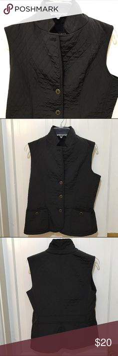 Talbots Vest A nice classic Talbots vest, size XS. Front pockets, slightly tailored front and back. Please note the top button is missing. Talbots Jackets & Coats Vests