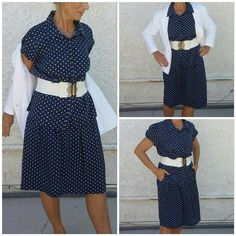 """SALENavy white polka dots top and skirt Navy with white polka dots, button up front, collard, short sleeve top with matching navy white polka dot, fully lined in solid navy (see pics) skirt with front inverted pleats from a 2"""" wide waist band and pockets. Top is XL 27"""" length, 44"""" bust. Skirt is size 12, 34"""" waist, 23"""" length, no elastic in waistband, 80 % rayon 20 % nylon. Belt and blazer are not included in this offer but will be posted soon. Fun w polka dot tennis or pearls n blazer Van…"""