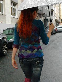Crosswise sweater (paid on Rav) - asymmetrical entrelac