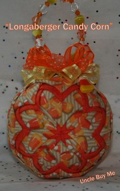 Shop for on Etsy, the place to express your creativity through the buying and selling of handmade and vintage goods. Quilted Christmas Ornaments, Christmas Bulbs, Folded Fabric Ornaments, Fabric Balls, Ornament Crafts, Ball Ornaments, Candy Corn, Holiday Fun, Fabric Crafts