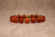 Natural Dyed Fire Agate Bead Stretch Bracelet ~ 7 Inch Bracelet ~ Agate Bracelet ~ Orange Bracelet