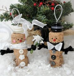 Bride and Groom Snowmen Champagne Cork Ornaments by LollipopDay, $28.00