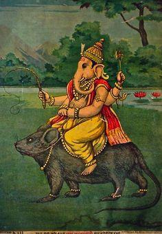 Ganesh on his Vahana, a mouse or rat | Raja Ravi Varma | 1910