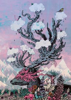 """""""Deer"""" metal poster by Mat Miller #animal"""