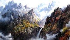 문정웅 그림『금강산 만물상』, 그는 1944년 평양에서 출생. 평양미대를 졸업 후, 만수대창작사에서 40여년간 활동하였다. 그의 작품은 색채가 풍부하고 필치가 활달하며 특히 금강산의 가을 Landscape Paintings, North Korea, Mountains, Water, Travel, Outdoor, Sculpture, Gripe Water, Outdoors