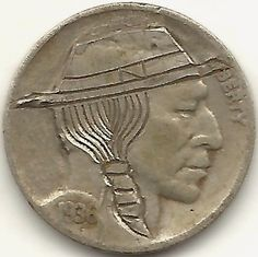 FRANK BRAZZELL HOBO NICKEL - INDIAN IN HAT - 1936 BUFFALO PROFILE Hobo Nickel, Buffalo, Classic Style, Coins, Carving, Profile, Hat, Indian, Artist