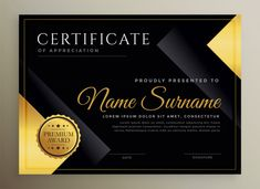 Black and gold certificate template Free Vector Free Certificates, Certificate Design Template, Award Template, Certificate Of Appreciation, Photography Business Cards, Day Trading, Lorem Ipsum, Vector Free Download, Vector Photo