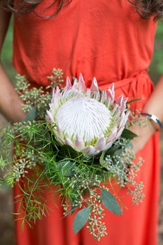 King Protea and Greenery Bridesmaid Bouquet