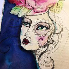 Swirls and curls today ( and flower eyes) #janedavenportmixedmedia #janedavenport #jdmm #inkrediblepen #watercolor