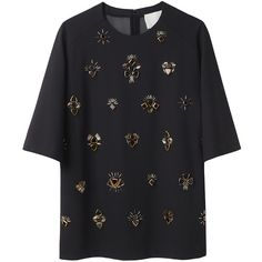 3.1 Phillip Lim All Eyes On You Embroidered T-Shirt (205 BHD) ❤ liked on Polyvore featuring tops, t-shirts, shirts, tees, boxy t shirt, raglan shirts, elbow length t shirts, gold shirt and embroidery t shirts