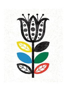 SCANDINAVIAN INSPIRED FOLK FLOWER by Michael Mullan