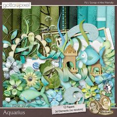 Aquarius Digital Scrapbook Kit at Gotta Pixel. www.gottapixel.net/
