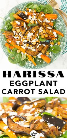 This sheet pan harissa eggplant and carrot salad is full of delicious flavors, textures and makes a fantastic meal prep. Healthy and ready in 30 minutes. Best Salad Recipes, Easy Healthy Recipes, Quick Easy Meals, Vegetarian Recipes, Carrot Recipes, Healthy Eats, Delicious Recipes, Moroccan Salad, Roasted Root Vegetables