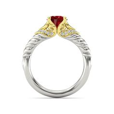 The Duchess of Hearts Ring customized in ruby, diamond, yellow gold and white gold