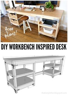 DIY workbench inspired desk with free plans. Great for the office. Industrial or…