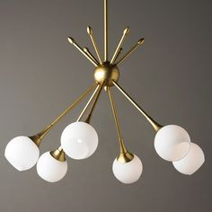 Mid-Century Modern Mobile Chandelier - 6 Light golden